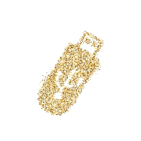 Gold glitter icon of Usb isolated on background. Art creative concept illustration for web, glow light confetti, bright sequins, sparkle tinsel, abstract bling, shimmer dust, foil. 版權商用圖片