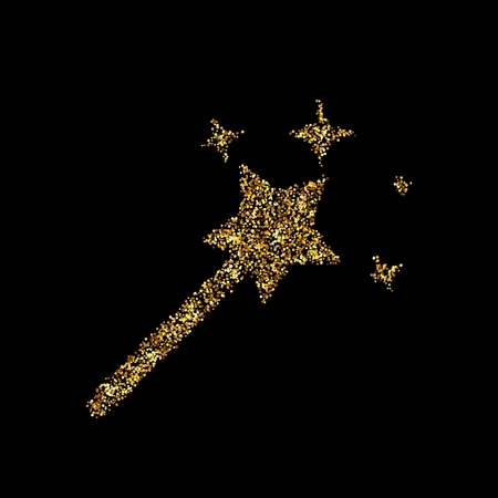 Gold glitter icon of magic wand isolated on background. Art creative concept illustration for web, glow light confetti, bright sequins, sparkle tinsel, abstract bling, shimmer dust, foil.