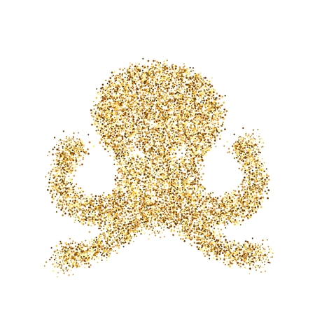 Gold glitter icon of octopus isolated on background. Art creative concept illustration for web, glow light confetti, bright sequins, sparkle tinsel, abstract bling, shimmer dust, foil. Stock Photo