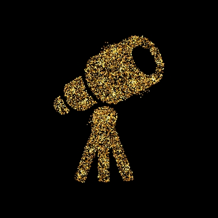 Gold glitter icon of telescope isolated on background. Art creative concept illustration for web, glow light confetti, bright sequins, sparkle tinsel, abstract bling, shimmer dust, foil.