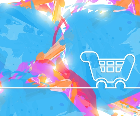 Creative cart. Art illustration template background. For presentation, layout, brochure, logo, page, print, banner, poster, cover, booklet, business infographic, wallpaper, sign, flyer. Stock Photo