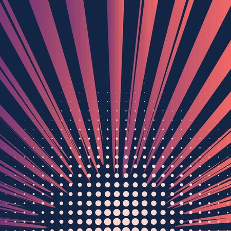 Abstract creative concept comic pop art style blank, layout template with clouds beams and isolated dots pattern on background. For sale banner, empty bubble, illustration halftone book design.