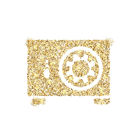 Gold glitter icon of safe box isolated on background. Art creative concept illustration for web, glow light confetti, bright sequins, sparkle tinsel, abstract bling, shimmer dust, foil. Zdjęcie Seryjne - 120025487