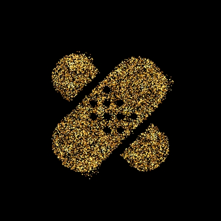 Gold glitter icon of bandaid isolated on background. Art creative concept illustration for web, glow light confetti, bright sequins, sparkle tinsel, abstract bling, shimmer dust, foil. Reklamní fotografie