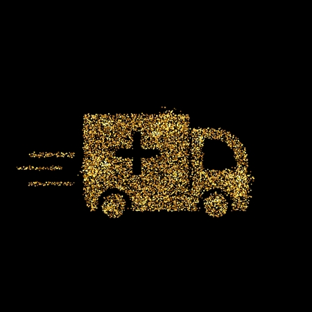Gold glitter icon of ambulance isolated on background. Art creative concept illustration for web, glow light confetti, bright sequins, sparkle tinsel, abstract bling, shimmer dust, foil. Foto de archivo