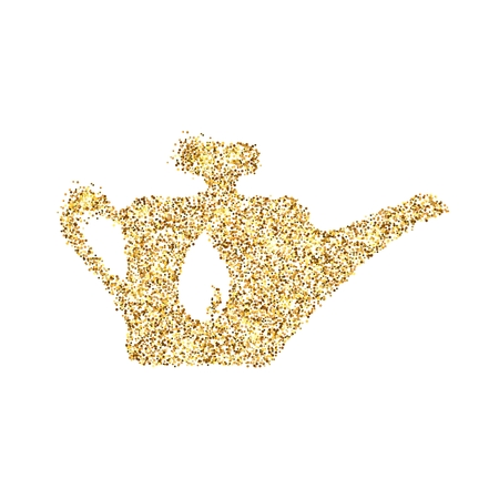 Gold glitter icon of oil lubricator isolated on background. Art creative concept illustration for web, glow light confetti, bright sequins, sparkle tinsel, bling logo, shimmer dust, foil.