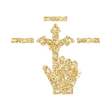 Gold glitter icon of hand with arrows isolated on background. Art creative concept illustration for web, glow light confetti, bright sequins, sparkle tinsel, bling logo, shimmer dust, foil.