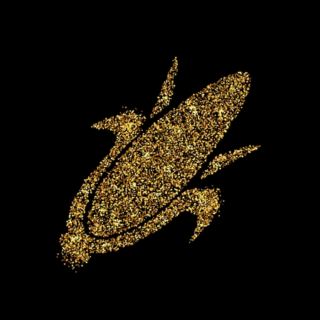 Gold glitter icon of corn on the cob isolated on background. Art creative concept illustration for web, glow light confetti, bright sequins, sparkle tinsel, abstract bling, shimmer dust, foil.