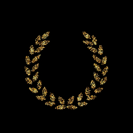 Gold glitter icon of laurel wreath isolated on background. Art creative concept illustration for web, glow light confetti, bright sequins, sparkle tinsel, abstract bling, shimmer dust, foil.