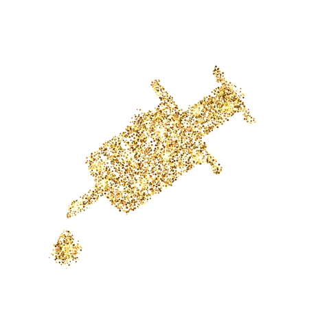 Gold glitter icon of syringe isolated on background. Art creative concept illustration for web, glow light confetti, bright sequins, sparkle tinsel, abstract bling, shimmer dust, foil.