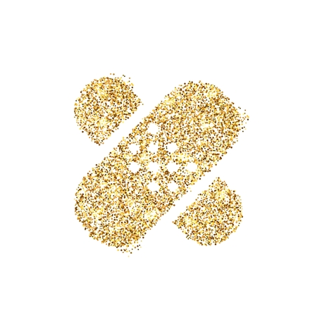 Gold glitter icon of bandaid isolated on background. Art creative concept illustration for web, glow light confetti, bright sequins, sparkle tinsel, abstract bling, shimmer dust, foil. Stock Photo