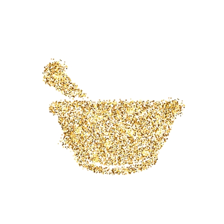 Gold glitter icon of mortar isolated on background. Art creative concept illustration for web, glow light confetti, bright sequins, sparkle tinsel, abstract bling, shimmer dust, foil.