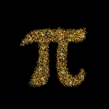 Gold glitter icon of pi isolated on background. Art creative concept illustration for web, glow light confetti, bright sequins, sparkle tinsel, abstract bling, shimmer dust, foil.