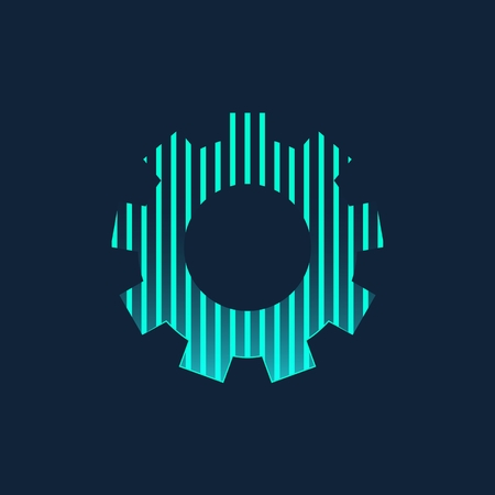Abstract Creative concept icon of gear wheel for Web and Mobile Applications isolated on background. illustration template design, Business infographic and social media, origami icons 写真素材