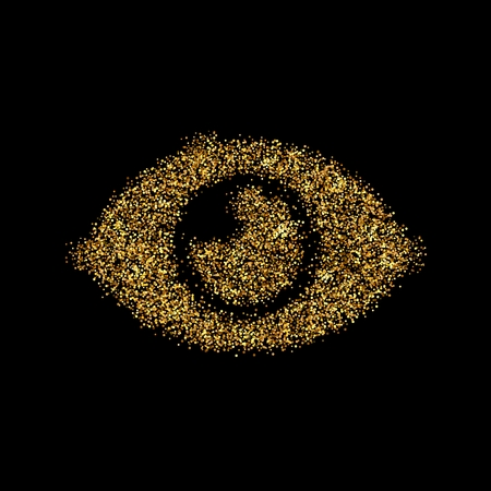 Gold glitter icon of eye isolated on background. Art creative concept illustration for web, glow light confetti, bright sequins, sparkle tinsel, abstract bling, shimmer dust, foil.