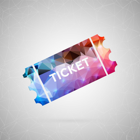 Abstract creative concept icon of lottery ticket. For web and mobile content isolated on background, unusual template design, flat silhouette object and social media image, triangle art origami