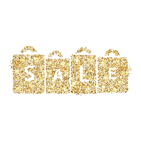 Gold glitter icon of packages isolated on background. Art creative concept illustration for web, glow light confetti, bright sequins, sparkle tinsel, abstract bling, shimmer dust, foil.