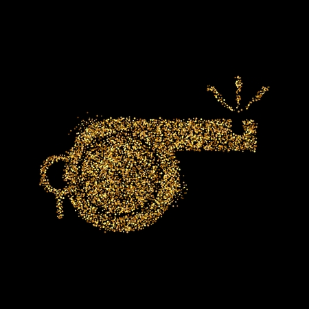 Gold glitter icon of whistle isolated on background. Art creative concept illustration for web, glow light confetti, bright sequins, sparkle tinsel, abstract bling, shimmer dust, foil. 写真素材