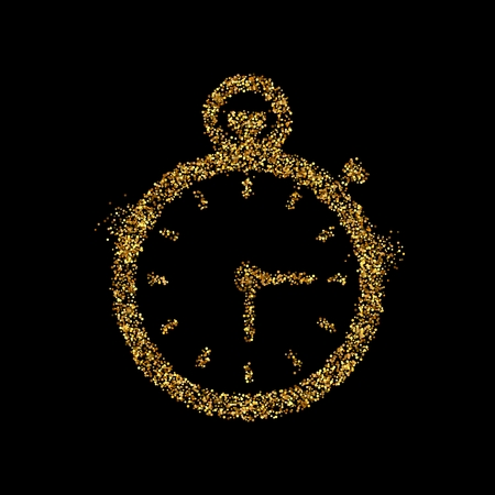 Gold glitter icon of stopwatch isolated on background. Art creative concept illustration for web, glow light confetti, bright sequins, sparkle tinsel, abstract bling, shimmer dust, foil.