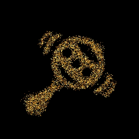 Gold glitter icon of rattle isolated on background. Art creative concept illustration for web, glow light confetti, bright sequins, sparkle tinsel, abstract bling, shimmer dust, foil.