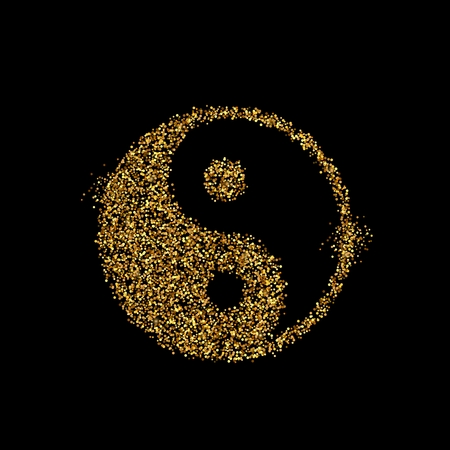 Gold glitter icon of Yin Yang isolated on background. Art creative concept illustration for web, glow light confetti, bright sequins, sparkle tinsel, abstract bling, shimmer dust, foil.