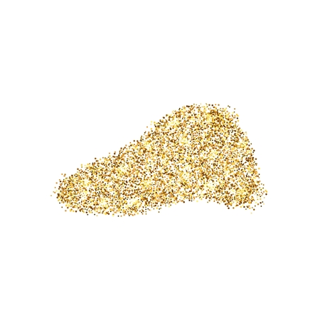 Gold glitter icon of liver isolated on background. Art creative concept illustration for web, glow light confetti, bright sequins, sparkle tinsel, abstract bling, shimmer dust, foil.