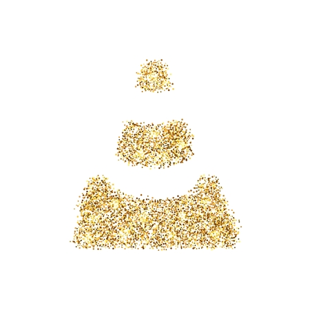 Gold glitter icon of traffic cone isolated on background. Art creative concept illustration for web, glow light confetti, bright sequins, sparkle tinsel, abstract bling, shimmer dust, foil. Stock Photo