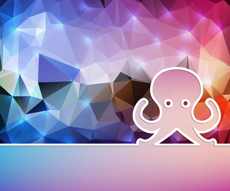 Creative octopus. Art illustration template background. For presentation, layout, brochure, logo, page, print, banner, poster, cover, booklet, business infographic, wallpaper, sign, flyer.