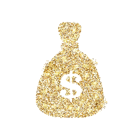 Gold glitter icon of money bag isolated on background. Art creative concept illustration for web, glow light confetti, bright sequins, sparkle tinsel, abstract bling, shimmer dust, foil. Standard-Bild - 120535282