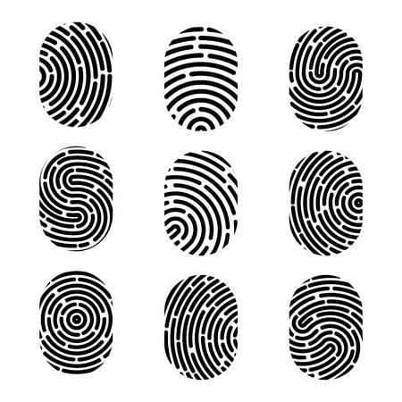 Kreative Illustration des Fingerabdrucks. Fingerabdruck im Kunstdesign. Zeichen für Sicherheitskriminalität. Grafikelement des abstrakten Konzepts. Fingerabdruck-ID.