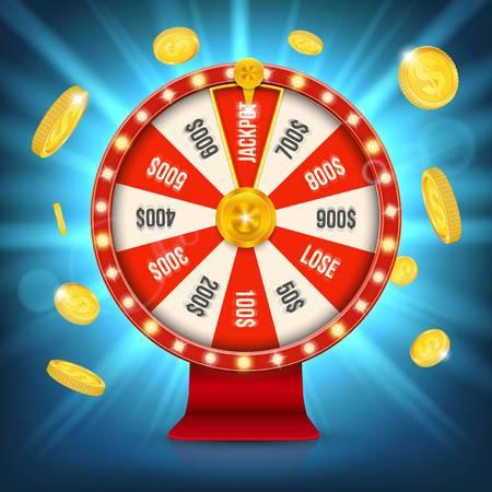 Illustrazione creativa della rotella di filatura di fortuna 3d. La roulette fortunata vince il jackpot nel design artistico del casinò. Elemento di gioco grafico concetto astratto. Archivio Fotografico