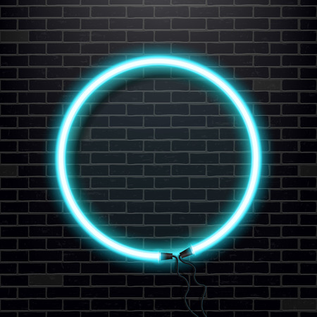 Creative illustration of neon lamp sign. Art design isolated bulb banner. Abstract concept graphic element.