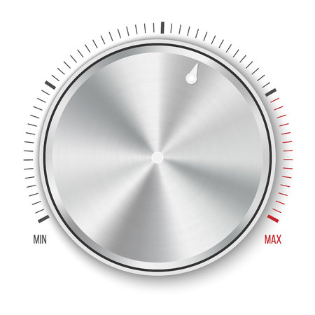 Creative illustration of dial knob level technology settings, music metal button with circular processing isolated on background. Sound control. Art design. Abstract concept graphic element.