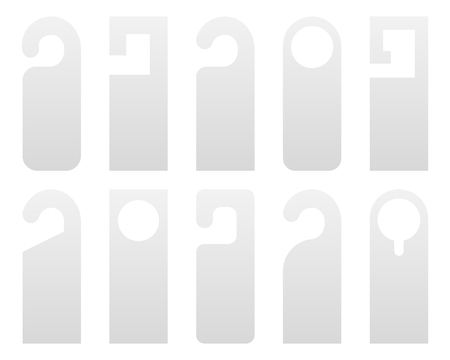 Creative illustration of realistic plastic paper door handle lock hangers set isolated on background. Art design empty blank mockup. For text - do not Disturb. Abstract concept graphic element.
