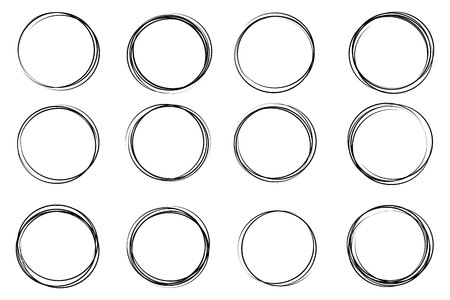 Creative illustration of hand drawning circle line sketch set isolated on background. Art design round circular scribble doodle. Abstract graphic element for message note mark.