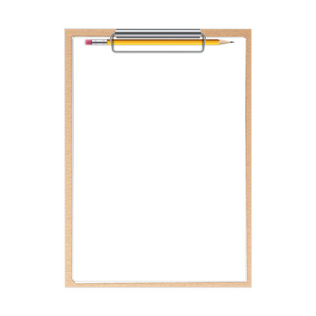 Creative illustration of realistic clipboard with paper sheets and pen with isolated on background. Art design blank template mockup. Abstract concept graphic element.
