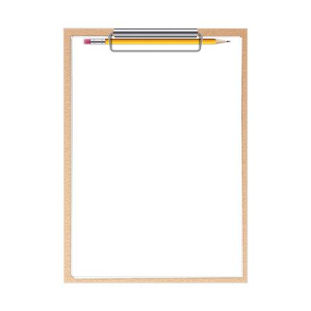 Ilustración creativa de portapapeles realista con hojas de papel y bolígrafo con fondo aislado. Maqueta de plantilla en blanco de diseño de arte. Elemento gráfico del concepto abstracto.