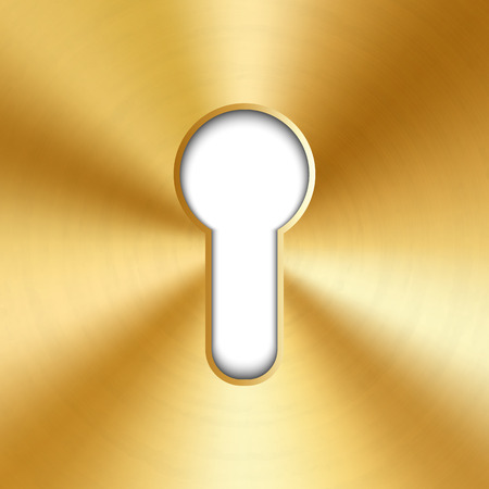 Ilustración creativa del ojo de la cerradura de metal brillante brillante realista aislado sobre fondo. Silueta de diseño de arte para llave. Elemento gráfico del concepto abstracto.