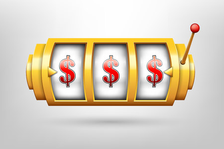 Creative illustration of 3d gambling reel, casino slot machine isolated on background. Art design. Concept abstract graphic element - one arm bandit, lucky symbol, big win, 777. Stock Photo