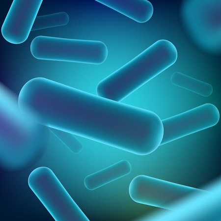 Creative illustration of probiotics bacteria isolated on background. Art design microscopic bacteria closeup. Concept healthy nutrition ingredient for therapeutic purposes graphic element.