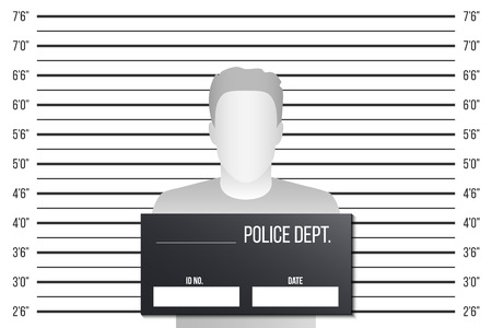 Creative illustration of police lineup, mugshot template with a table isolated on background. Art design silhouette of anonymous. Abstract concept graphic element. Banco de Imagens - 120957810