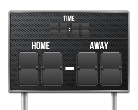 Creative illustration of soccer, football mechanical scoreboard isolated on background. Art design retro vintage countdown with time, result display. Concept graphic sport element.