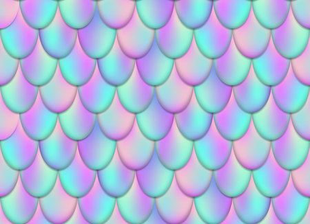 Creative illustration of holographic mermaid tail background isolated on background. Art design mesh gradient magic fish skin. Abstract concept graphic water-nymph element.