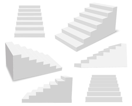 Creative illustration of 3d interior staircases, white stage set isolated on background. Art design stairs steps collection. Abstract concept graphic business infographic element. Imagens
