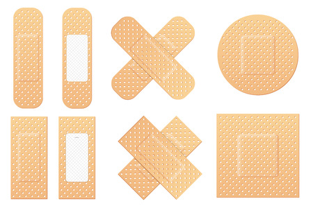 Creative illustration of adhesive bandage elastic medical plasters set isolated on background. Art design medical elastic patch. Abstract concept graphic different shape element Stock Photo