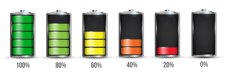 Creative illustration of 3d different charging status battery load isolated on background. Discharged power sources. Art design. Abstract concept graphic element for displays, icons Imagens