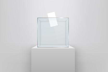 Creative illustration of realistic empty ballot box with voting paper in hole isolated on background. Art design glass case is on museum pedestal, stage, 3d podium. Concept graphic.