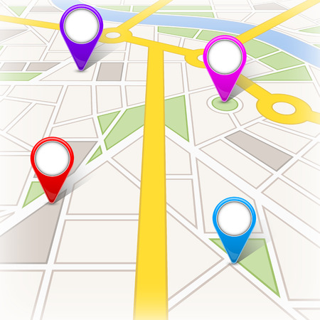 Kreative Illustration der Kartenstadt. Straßen-Infografik-Navigation mit GPS-Pin-Markierungen und -Zeigern Kunstdesign. Stadtroute und Infrastruktur. Grafikelement des abstrakten Konzepts Standard-Bild