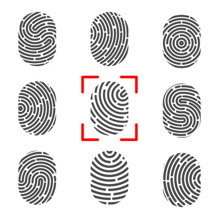 Creative illustration of fingerprint. Art design finger print. Security crime sign. Abstract concept graphic element. Thumbprint id.