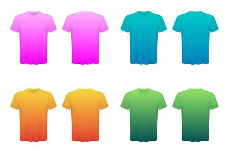 Kreative Illustration von farbigen T-Shirts Set auf Hintergrund isoliert. Kunstdesign leere Mockup-Werbevorlage. Abstraktes Konzept grafisches Draufsicht-Druckelement concept Standard-Bild